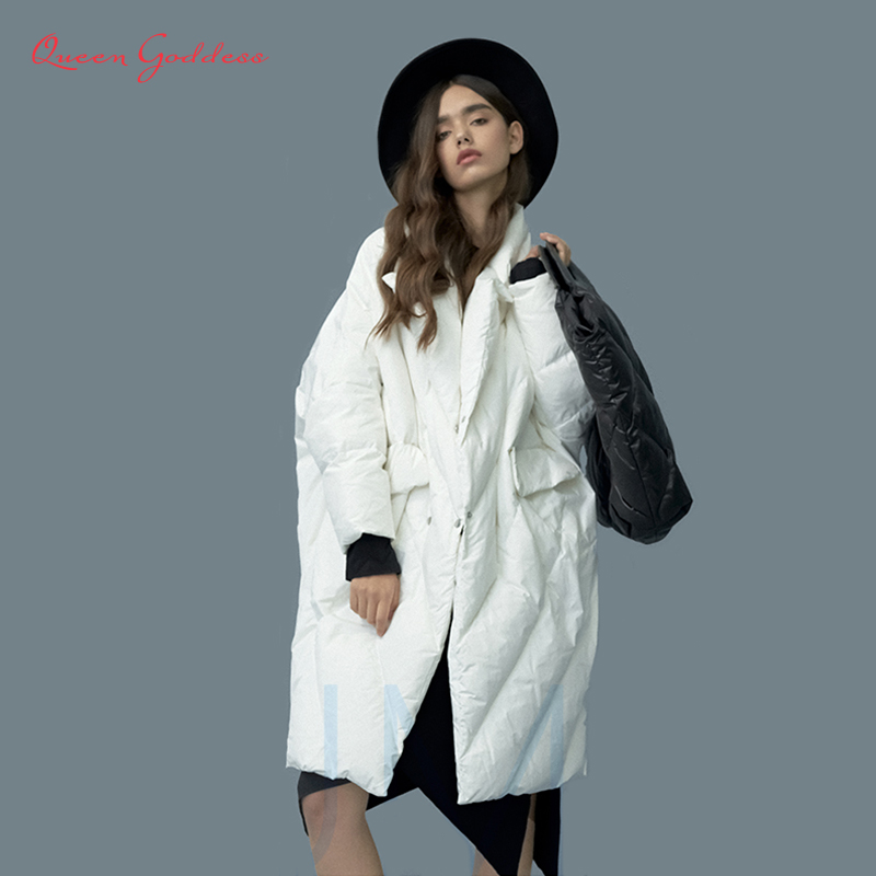 Winter New Listing Women Plus Size Long White Duck Down Jacket Cocoon&Bat Type Suit Collar 7XL Thicken Parkas Big Pocket