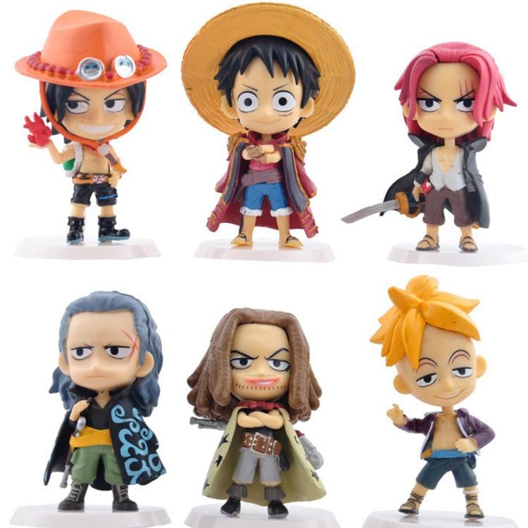 Anime One Piece 6pcs/set Vol.36 Marco Ace Luffy Shanks Cute Figure Model Toys