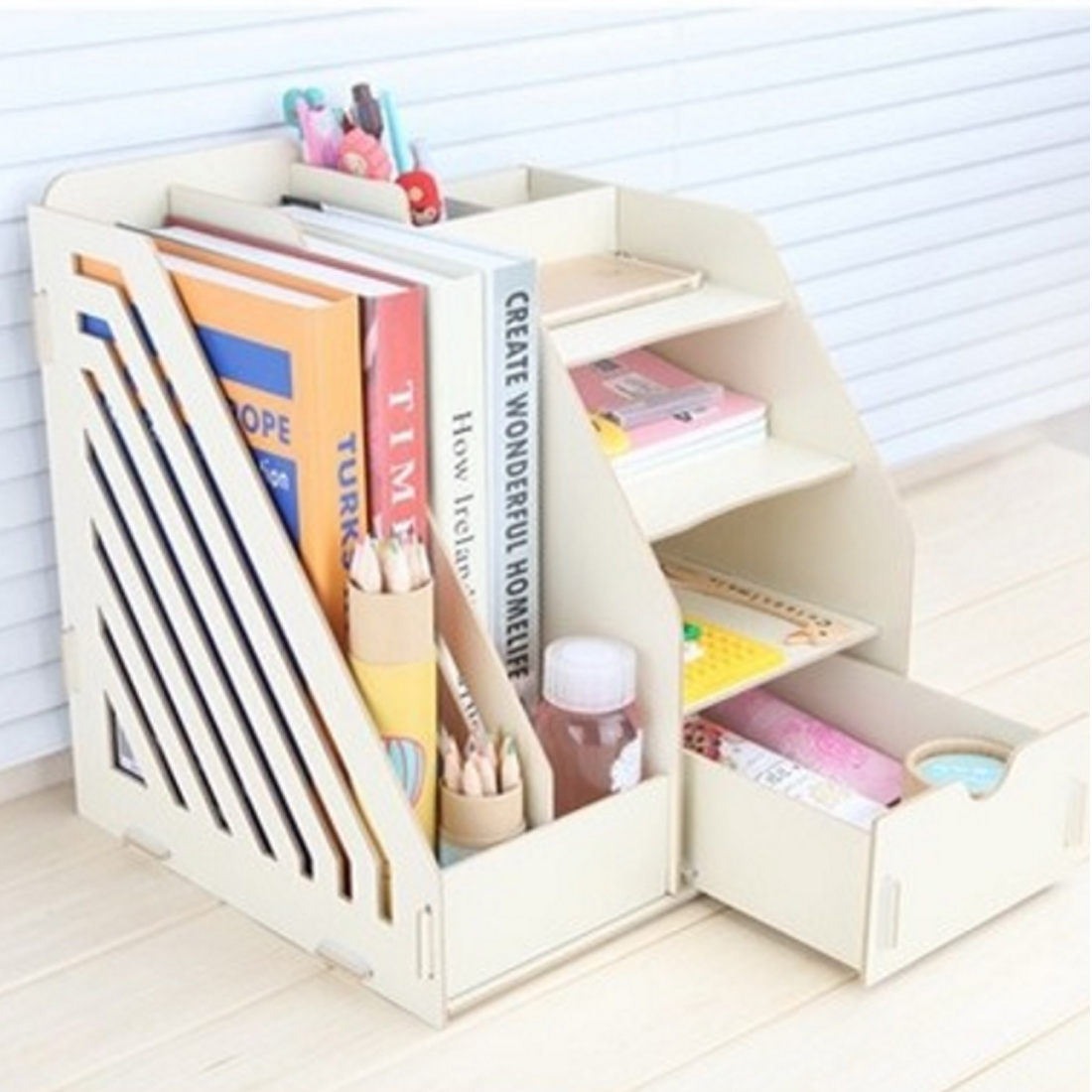 ITECHOR Office Sundries Wood Desk Organizer With Drawer Expandable Mail Sorter Desktop Stationary Organizer Storage Bin