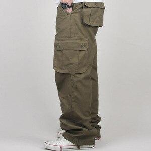 Image 3 - 30 44 플러스 사이즈 고품질 남성 카고 바지 캐주얼 남성 바지 멀티 포켓 군사 전술 긴 전체 길이 바지