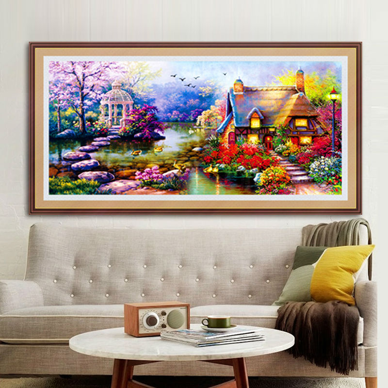 GLymg Arts Crafts 5D Diy Diamond Painting Cross Stitch European-Style Garden Round Drill Landscape Painting Needlework