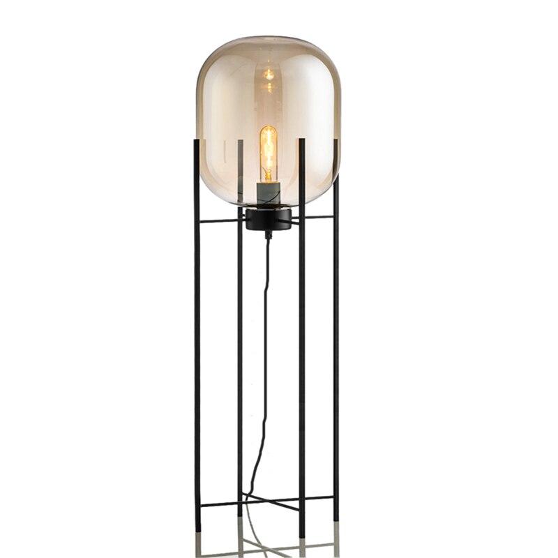 Nouveau style Creative simple lampe sur pied Cire gourde forme abat-jour en verre lampadaire noir nouveau design art éclairage de décoration