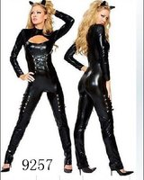 sexy lingerie Fancy Dress PVC cat woman party costume black Dance Wear AM9257 S--XL