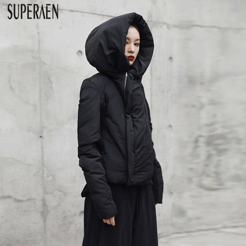 SuperAen 2018 Winter New Fashion Women Warm   Parkas   Coat Wild Casual Hooded Cotton Short   Parkas   Coat Zipper Europe Women Tops