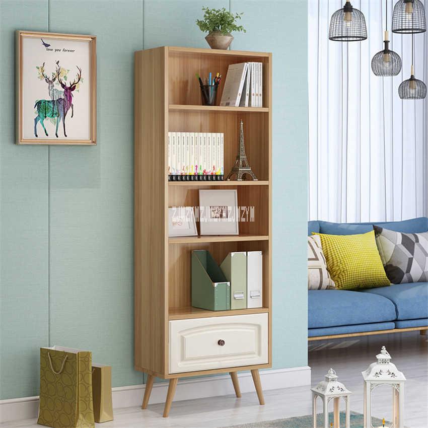 4-Слои деревянная книжная полка простые однотонные деревянный книжный шкаф детям открыть Тип шкаф шкафчик деревянный Bookrack Bookstack с выдвижным ящиком