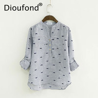 Dioufond Print Striped Blouses Women Cotton Long Sleeve Blusa Feminina Casual V Neck Ladies Tops Striped