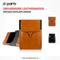 D Park Microsoft Surface 3 Case Luxury Genuine Leather Wool Felt Case Sleeve Pouch For Surface