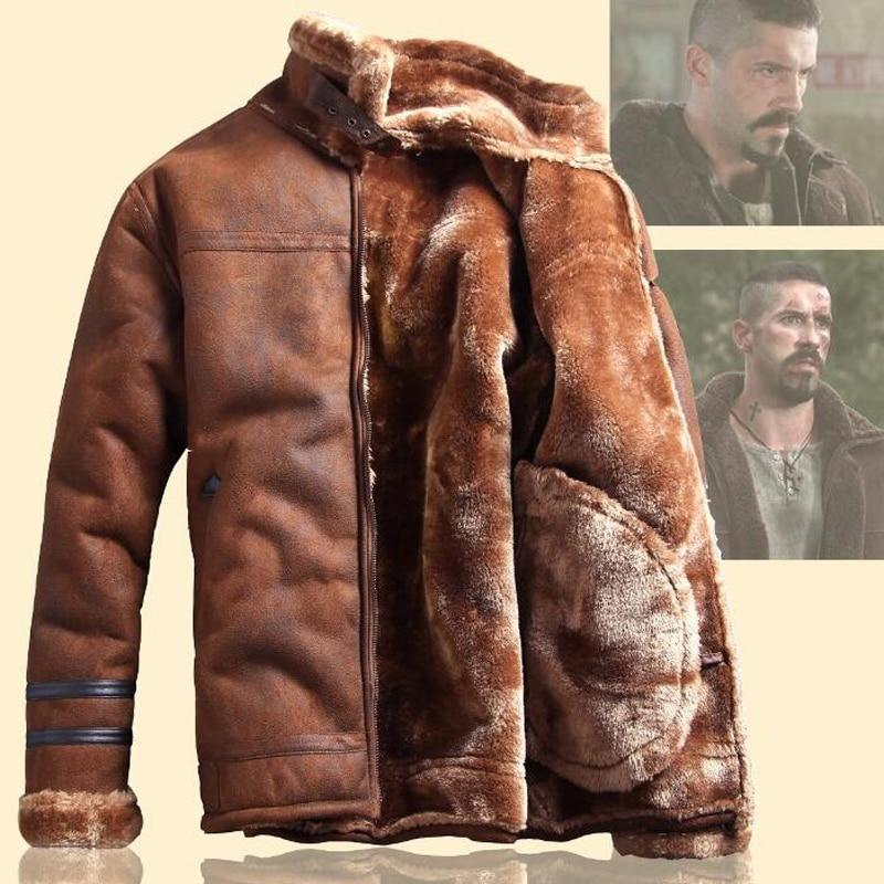 Gaya Rusia Winter Lelaki Bulu Jaket Kulit Faux kasual Fesyen - Pakaian lelaki - Foto 4