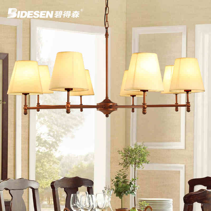 8 Head American Rural Style Creative Wrought Iron Pendant Light Cloth Art Foyer Light Coffee Shop Decoration Lamp Free Shipping
