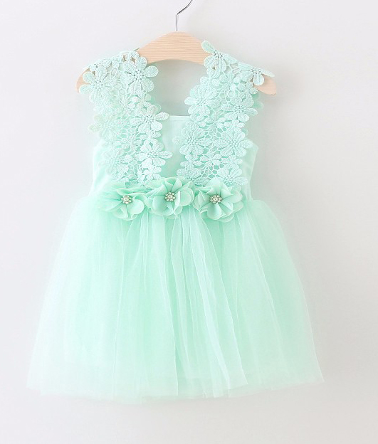 embroidery 3D Flower girl wedding Dress Girls lace Dresses