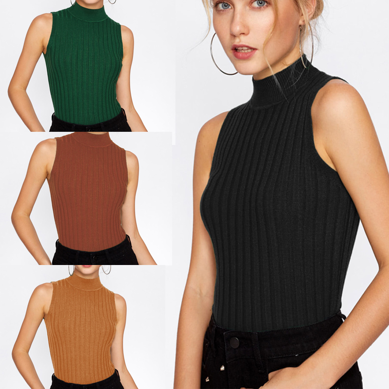 Sexy Women Summer Sleeveless Tank Crop Tops Casual Turtleneck Knitted Vest Shirt Blouse Top