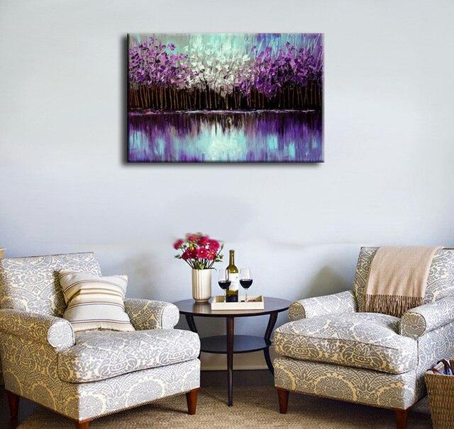 EVERFUN ART 100% genuine hand pained purple color decorative canvas ...
