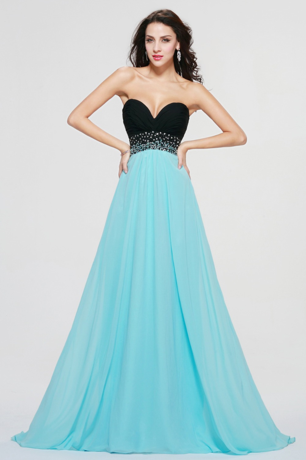 Black And Light Green Long Prom Dress Crystal Beads A Line Long ...
