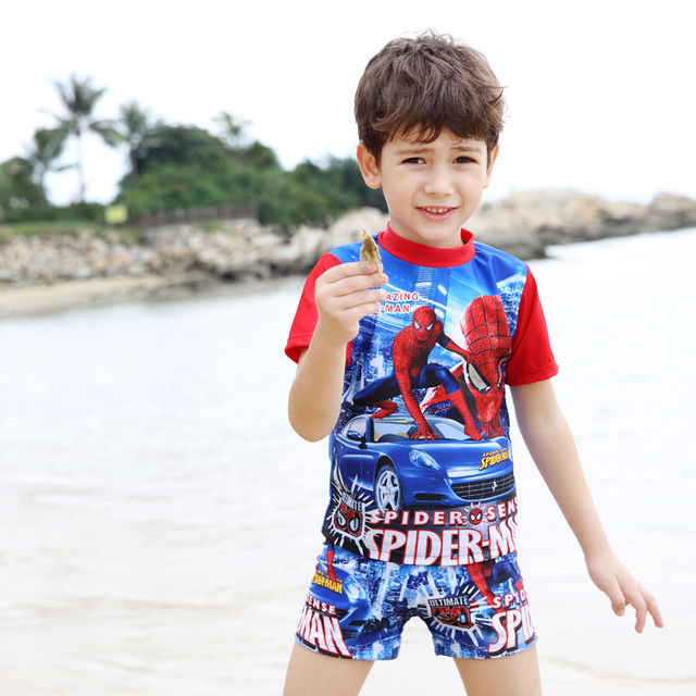 3584326f8768f Kids Cartoon Two pieces Swimwear Boy Spider Man Swimsuit Children Bathing  Suits Toddler Beachwear for 3-11 Years Old