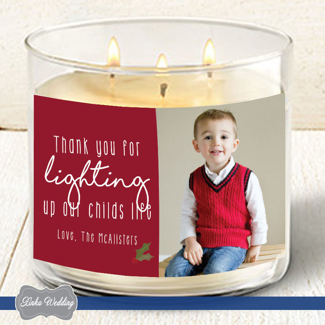 personalized photo christmas gift personalized candle labels