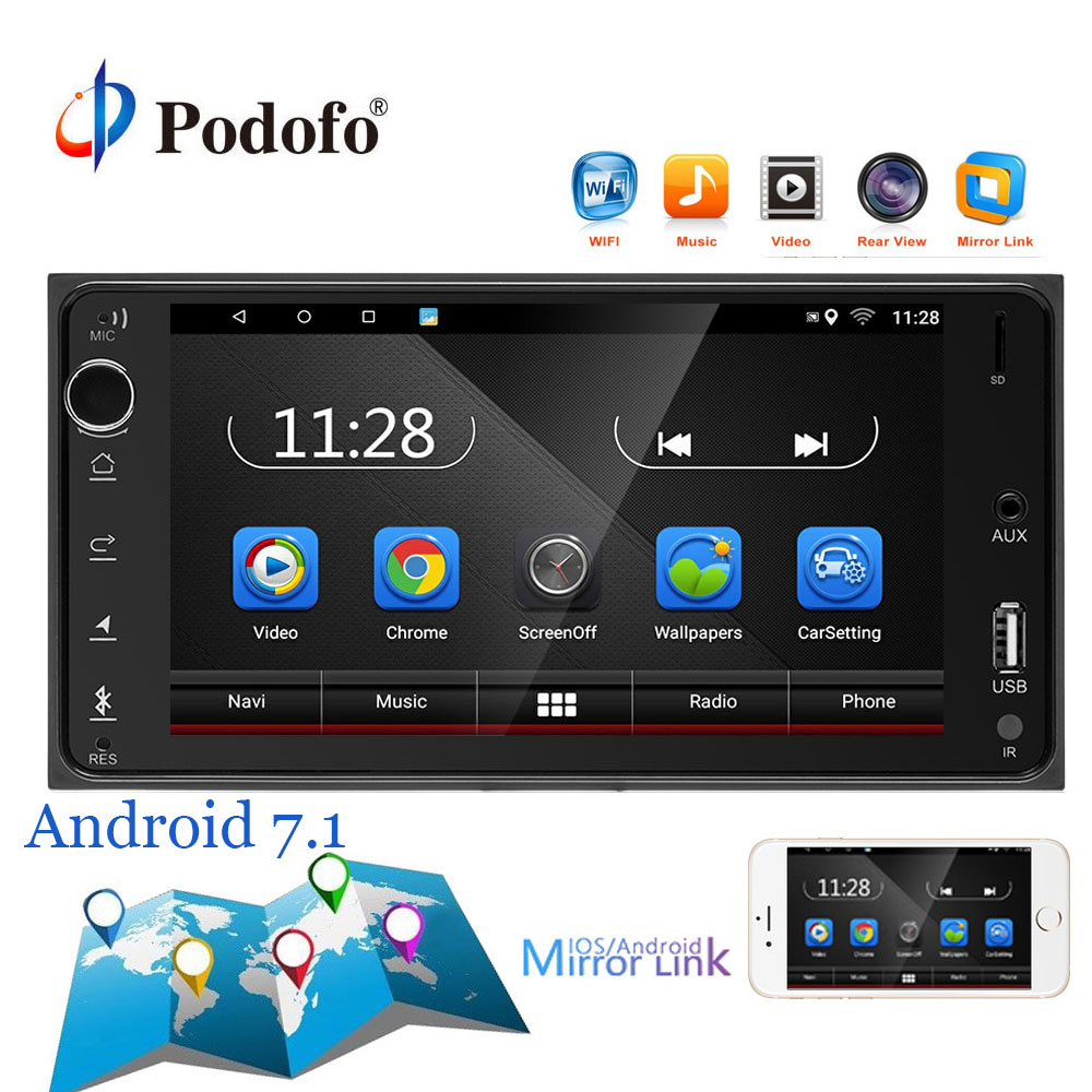 Podofo 2Din Android 7.1 Car Multimedia Player 7'' Touch Screen Car Radio Audio Bluetooth MP5/GPS/WIFI/FM/Mirror Link for Toyota