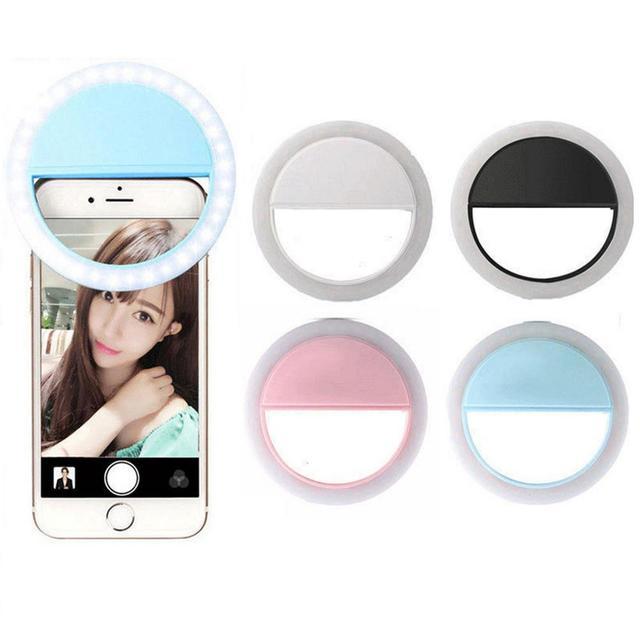 134491de044 Recarregável Selfie Selfie Anel LED Flash Light Up Universal Do Telefone  Móvel Luminosa Anel Clip Para