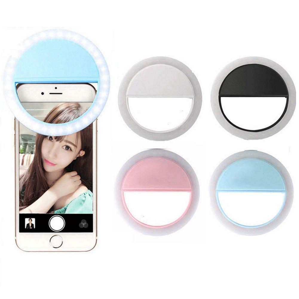 Rechargeable Selfie LED Flash Light Up Universal Mobile Phone Ring Selfie Luminous Ring Clip For For iPhone 8 8x 7 6 6S Plus кольцо для селфи selfie ring light на батарейке белое