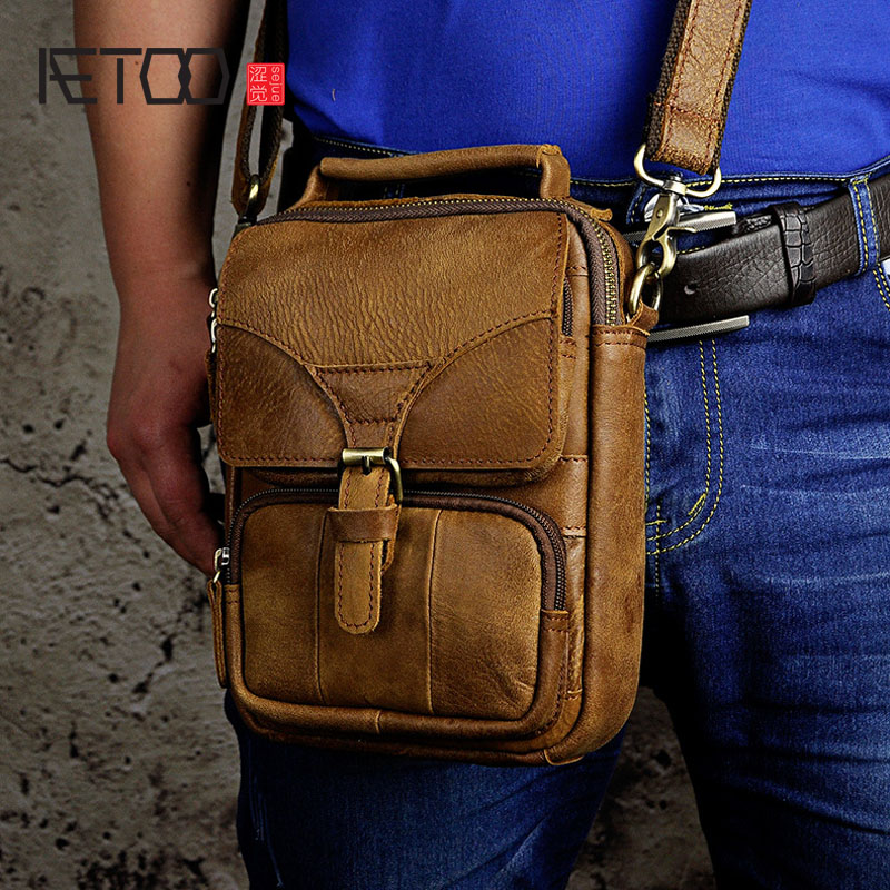 AETOO First layer of mad horse leather genuine leather messenger bags retro men tide cool phone camera leg bag purse aetoo new men fashion europe and the united states tide chest bag genuine leather first layer of leather messenger bag men