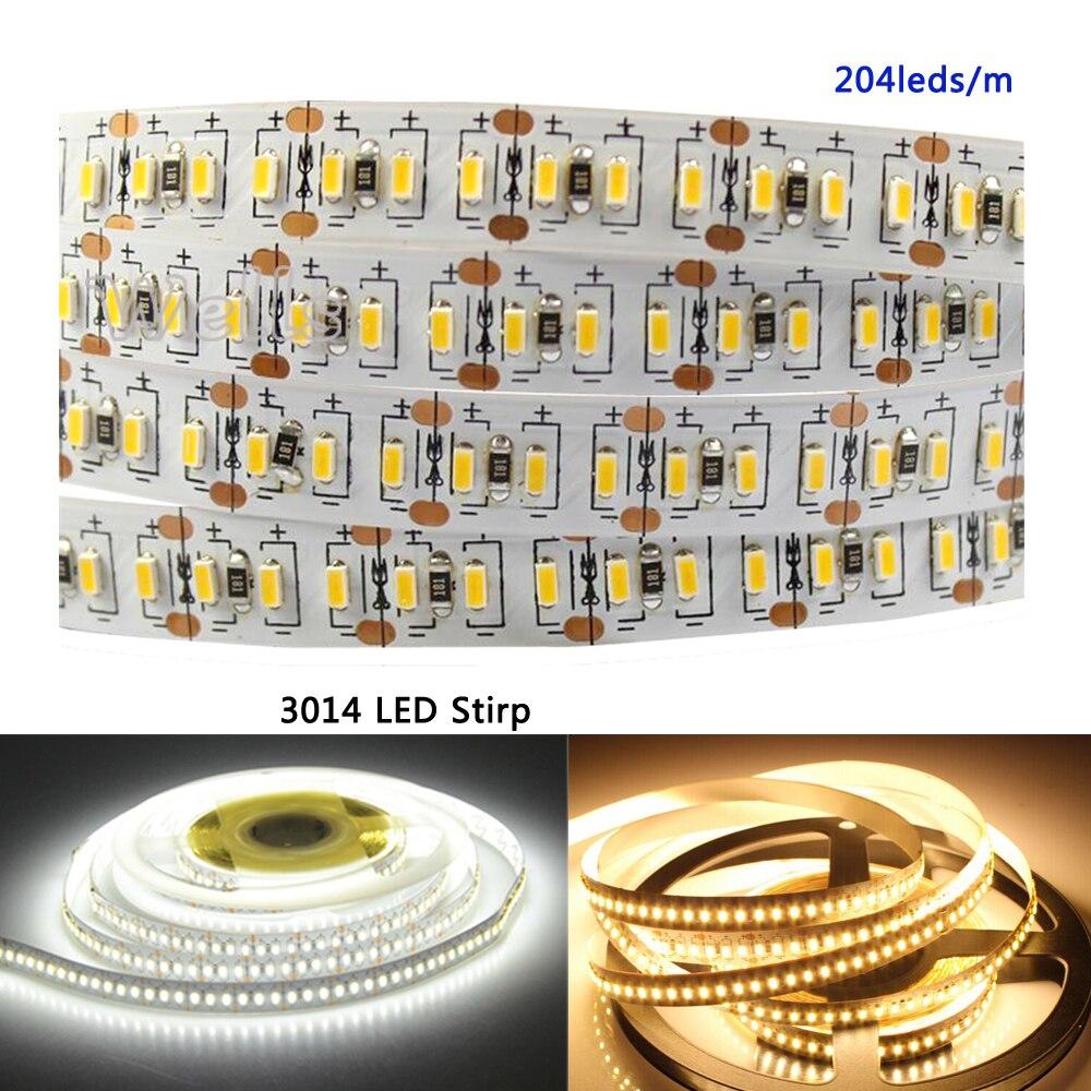 3014 Led Super Bright Strip 5m 1020leds DC12V 204 Leds/m White/Warm R/G/B White Flexible Led Strip Tape Ribbon IP20 IP65 IP67