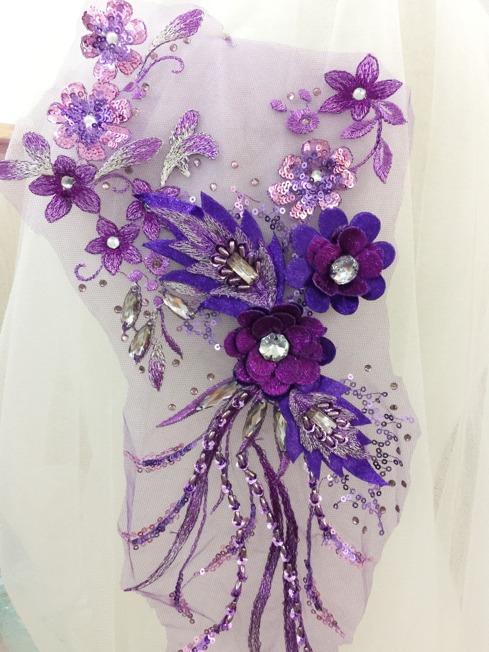2 pcs 3D Rhinestone Beaded Flower Lace Applique in Royal blue  0b93d9bb7d7a