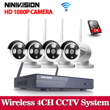 NINIVISION WIFI NVR System Plug&Play 1080P HDMI 4CH 2.0MP NVR KIT super Wireless signal P2P WIFI IP Camera Outdoor CCTV System