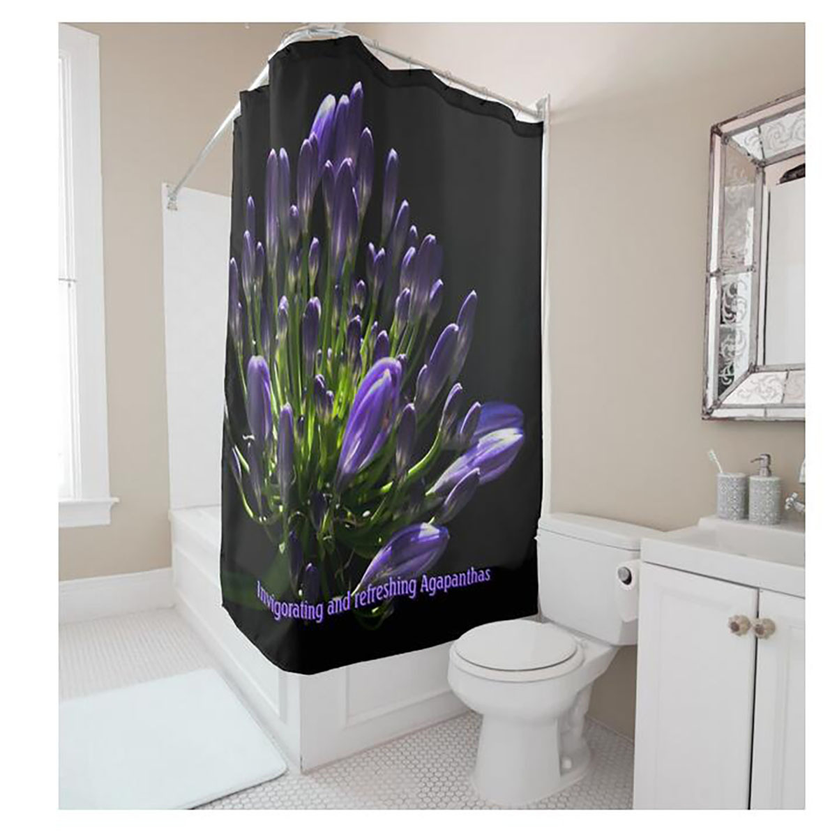 Purple And Black Shower Curtain. All The Bats Shower Curtain in ...