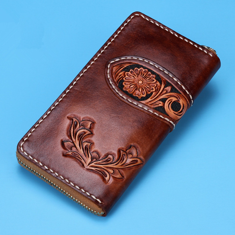 Handmade Wallets Carving Flower Zipper Brown Bag Purses Women Men Long Clutch Vegetable Tanned Leather Wallet Mothers Day Gift genuine leather wallets carving lotus bag purses women long clutch vegetable tanned leather wallet mother s day gift