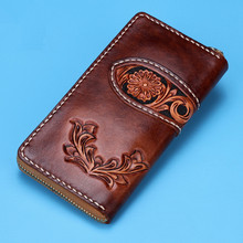 Handmade Wallets Carving Flower Zipper Brown Bag Purses Women Men Long Clutch Vegetable Tanned Leather Wallet Mothers Day Gift