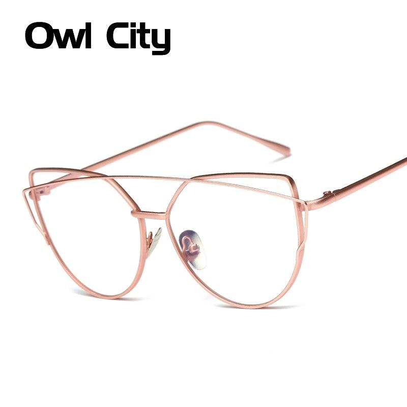 Dámské brýle Značka Designer Cat eye Rose Alloy Frame Anti-blue ray Optical Clear Len Glasses Unisex Eyewear Frames
