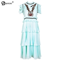 JOYDU vestidos 2018 Runway Luxury Sweet Long Summer Dress Chain Snake Sequins Ruffles Cake Pleated Chiffon Party Dresses Women