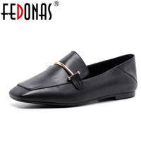 FEDONAS Womens Shoes Genuine Leather Flat Shoes Fashion Hand Make Leather Loafers Female Retro Shoes Woman