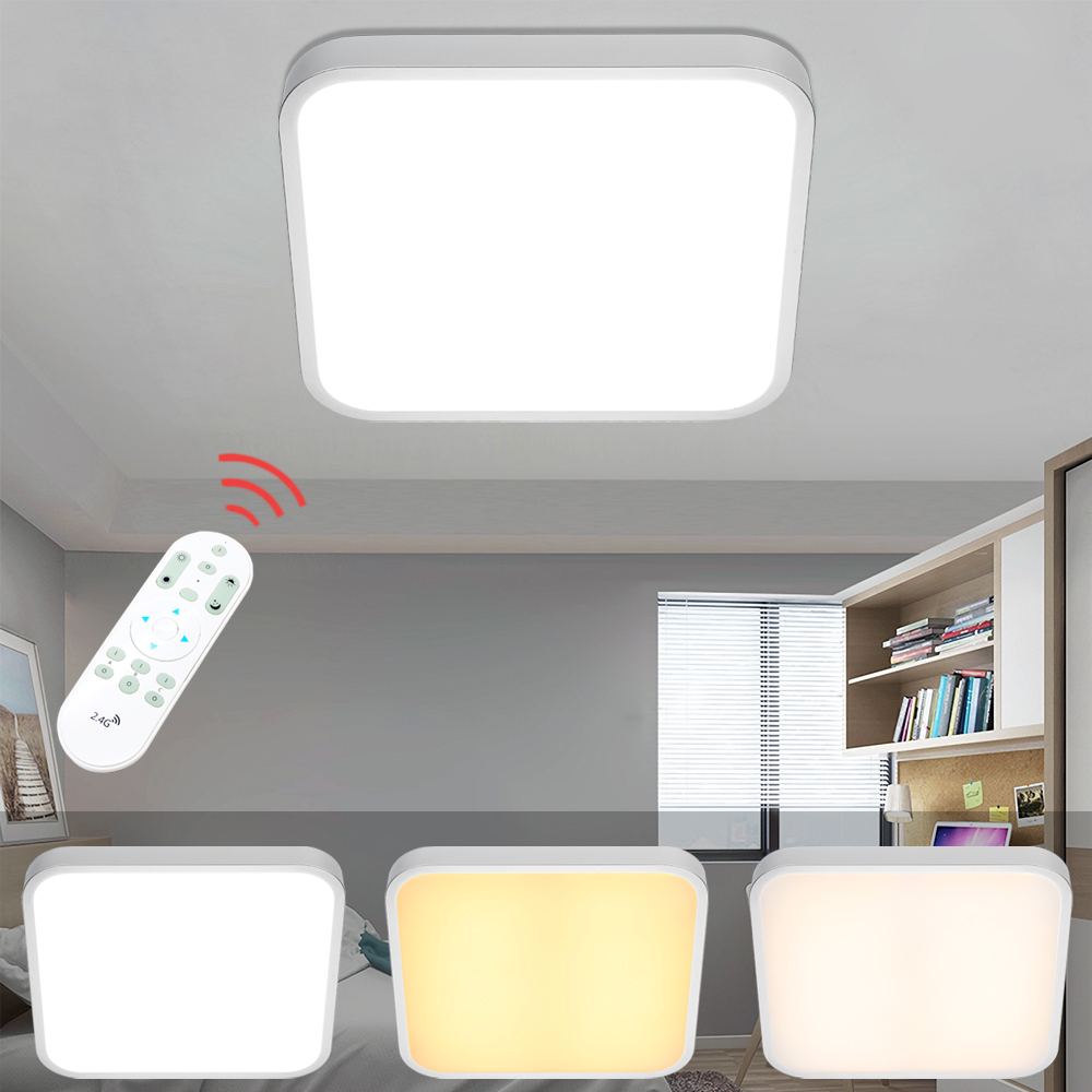 Square 24W LED Ceiling Light Modern Ceiling Dimmable Indoor Lighting LED Home Decor Lamp Living Room Bedroom Remote Control japanese indoor lighting led ceiling light lamp square 45 55cm tatami decor led lamp wood paper restaurant living room hallway