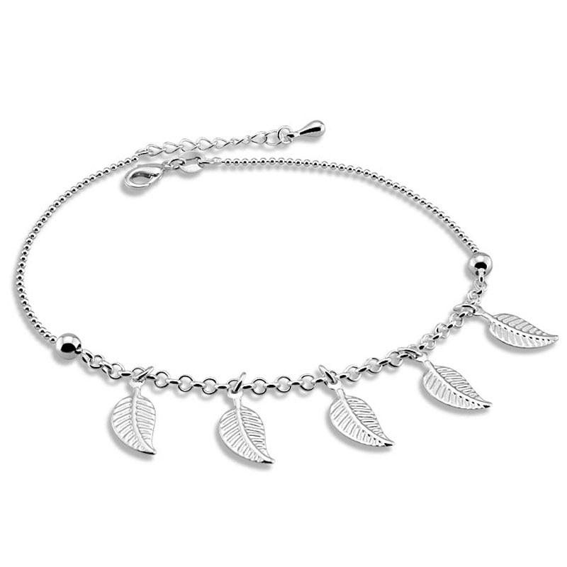 Fashion silver anklets leaf pendant anklets Women solid 925 silver anklets Cute girl bell anklets Charming