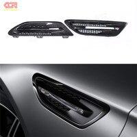 2 Pcs For BMW M Series F10 M5 Carbon Fiber Fender Light Trim Cover Side Grille
