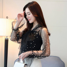 9c9199e656c45b Pearl Embellished Sheer Blouse Shirts Spring Summer Round Neck Stretchy  Woman Blouse Long Sleeve Plain Sexy