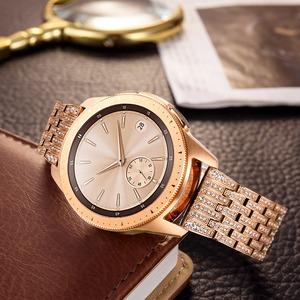 Image 5 - Diamond Watchband for Samsung Galaxy Watch 42mm 46mm Active 2 40mm 44mm Band Stainless Steel Strap Women Men Jewelry Bracelet