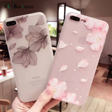 Beautiful Lace Petals Soft Case for iphone 7 Case Frosted Transparent Silicone Cover For iphone 6 6S 7 Plus Phone Cases Women