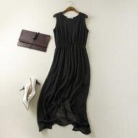 2015 Elegant Pure Silk Double Layer One Piece Dress 100 Mulberry Silk Sexy Slim Waist Black