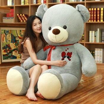 60-100cm Large Cute Teddy Bear Plush Toy Lovely Huge Stuffed Soft Bear Wear Bowknot Bear Kids Toy Birthday Gift For Girlfriend