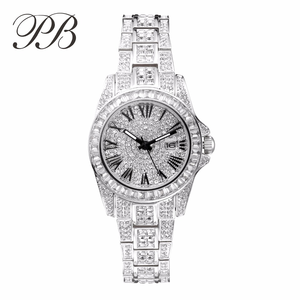 2016 Full Of Rhinestone Dress Rose Gold Crystal Famous Brand Luxury Watch Women ladies Quartz WatchesHL584