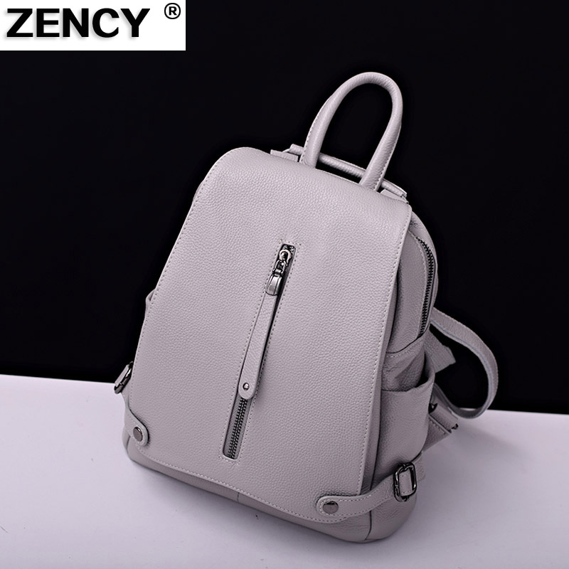 2018 Genuine Leather Women's Backpack First Layer Cowhide Girls Ladies' Shopping Travel Backpack School Designer Bag Black White zency genuine leather backpacks female girls women backpack top layer cowhide school bag gray black pink purple black color