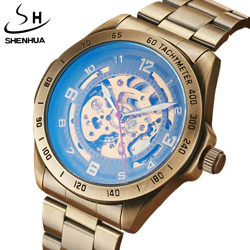 SHENHUA Luxury Brand Mens Automatic Skeleton Mechanical Watches For Males Retro Bronze Steampunk Full Steel Wristwatches Gifts luxury brand shenhua steampunk transparent skeleton crystal flywheel automatic genuine leather strap dress mens mechanical watch