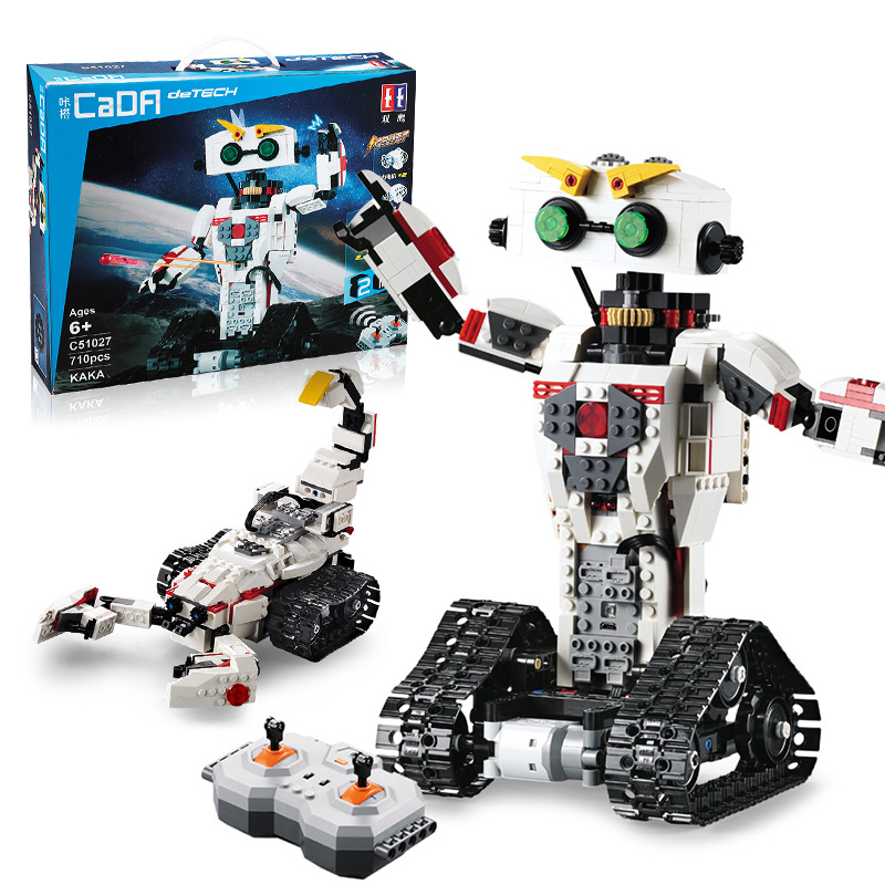 710pcs 2 IN 1 Transformation Idea RC Robot Model Creative Technic Serie Building Blocks Bricks Educational