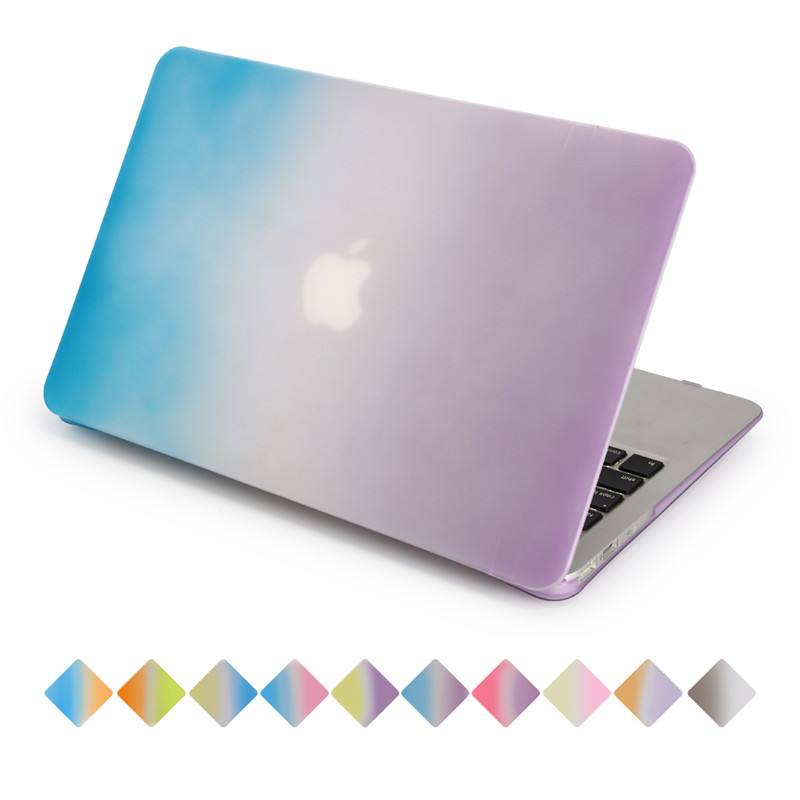 rainbow case for apple macbook air pro retina a1534 a1466 a1278 gradient blue to purple cover for 11.6 12.1 13.3 15.4 inch