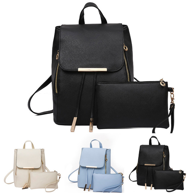 b2f05a9025be US $11.87 45% OFF|2Pcs Set Fashion Women Leather Backpack Girls School  Clutch Shoulder Bag Teenage Luxury Travel Rucksack morral mujer 10.5#15-in  ...