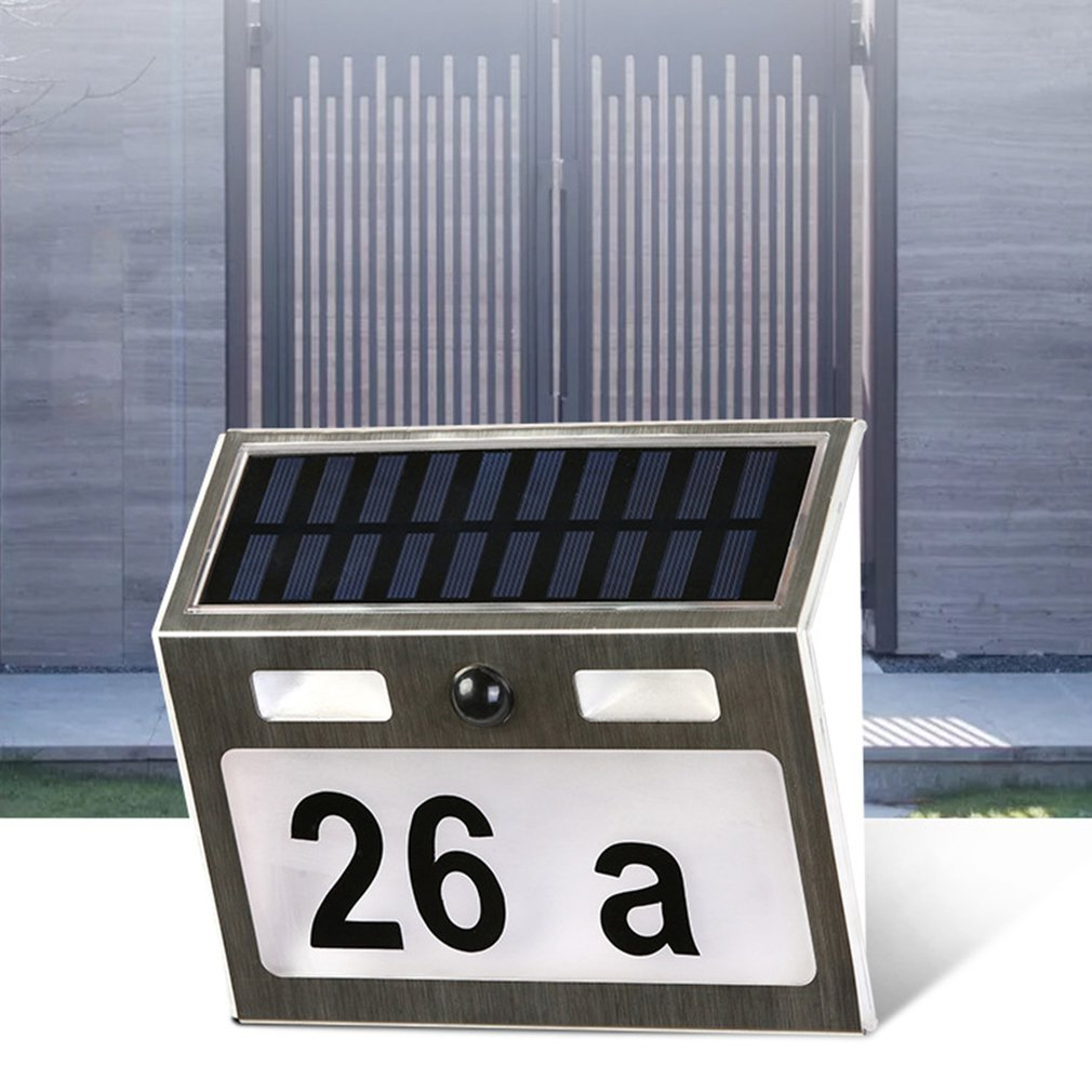 Polysilicon house number lamp Solar Power LED Light Sign House Hotel Door Address Plaque Number Digits Plate