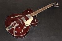 Sıcak Satış Ucuz Fiyat Alevli Akçaağaç Üst Gitar G Gretsch Caz Elektrik Gitar Hollow Vücut