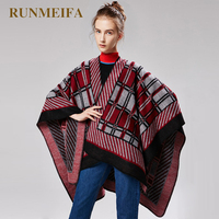 New Women's Large shawl Vintage style striped plaid Imitation cashmere cape shawl for women's fashion accessories scarf poncho