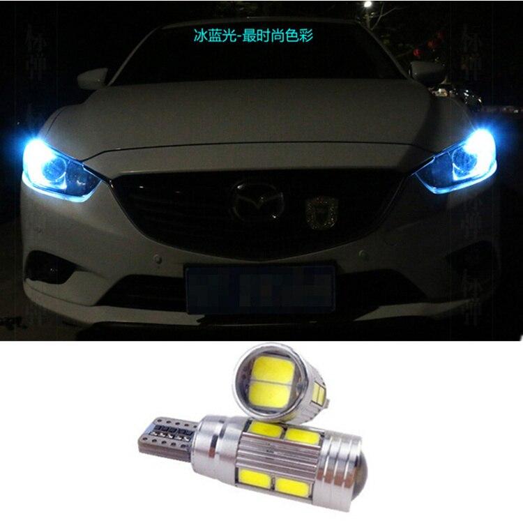 2 X T10 LED W5W Car LED Auto Lamp 12V Light bulbs with Projector Lens for <font><b>mazda</b></font> <font><b>3</b></font> Axela 6 atenza cx-5 cx5 cx 5 2 m3 drl parking
